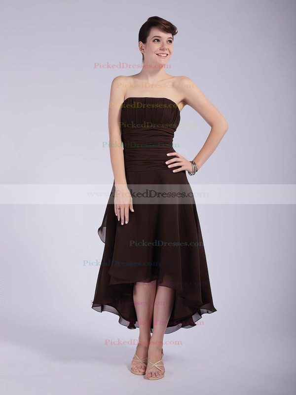 Chiffon A-line Strapless Asymmetrical Pleats Bridesmaid Dresses #PDS01012039