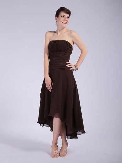 Chiffon A-line Strapless Asymmetrical Pleats Bridesmaid Dresses #PDS01012039