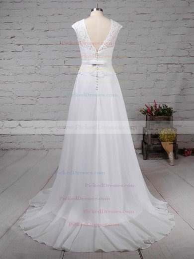 A-line Scoop Neck Sweep Train Lace Chiffon Beading Wedding Dresses #PDS00023197