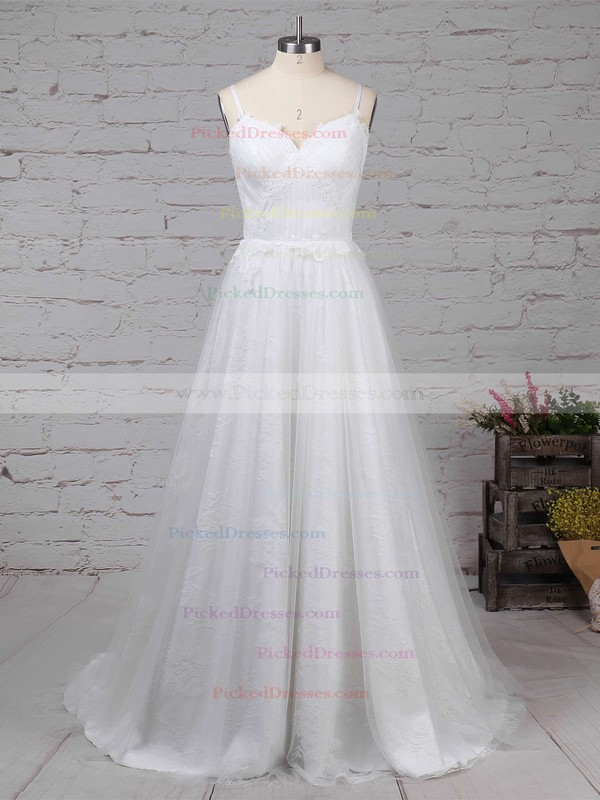 A-line V-neck Sweep Train Tulle Lace Appliques Lace Wedding Dresses #PDS00023211