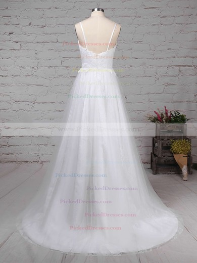 A-line V-neck Sweep Train Tulle Lace Appliques Lace Wedding Dresses #PDS00023211