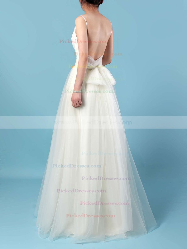 A-line V-neck Floor-length Tulle Ruffles Wedding Dresses #PDS00023214