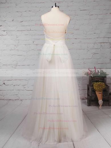 A-line V-neck Floor-length Tulle Ruffles Wedding Dresses #PDS00023214