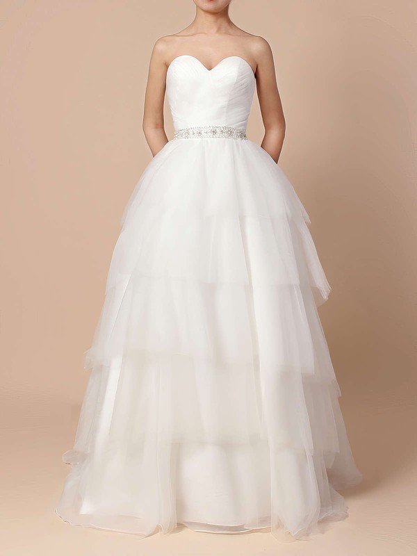 Ball Gown Sweetheart Sweep Train Tulle Beading Wedding Dresses #PDS00023216