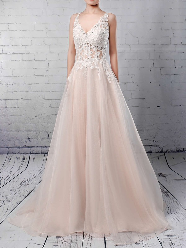 Ball Gown V-neck Sweep Train Tulle Appliques Lace Wedding Dresses #PDS00023220
