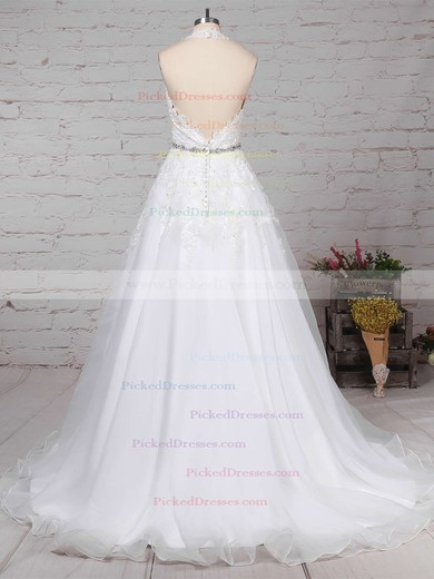 Ball Gown Halter Sweep Train Tulle Beading Wedding Dresses #PDS00023223