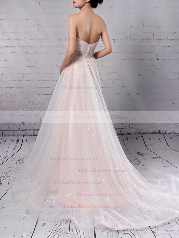 Princess Sweetheart Sweep Train Tulle Sequined Beading Wedding Dresses #PDS00023234