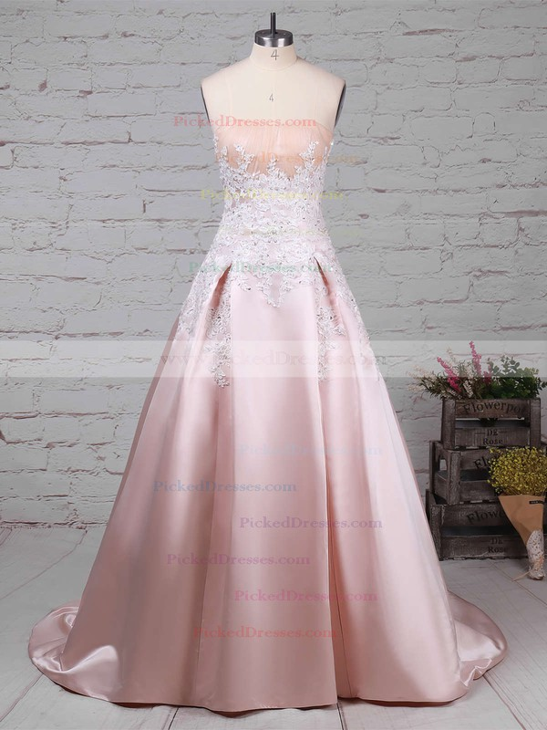 Ball Gown Strapless Sweep Train Satin Appliques Lace Wedding Dresses #PDS00023235