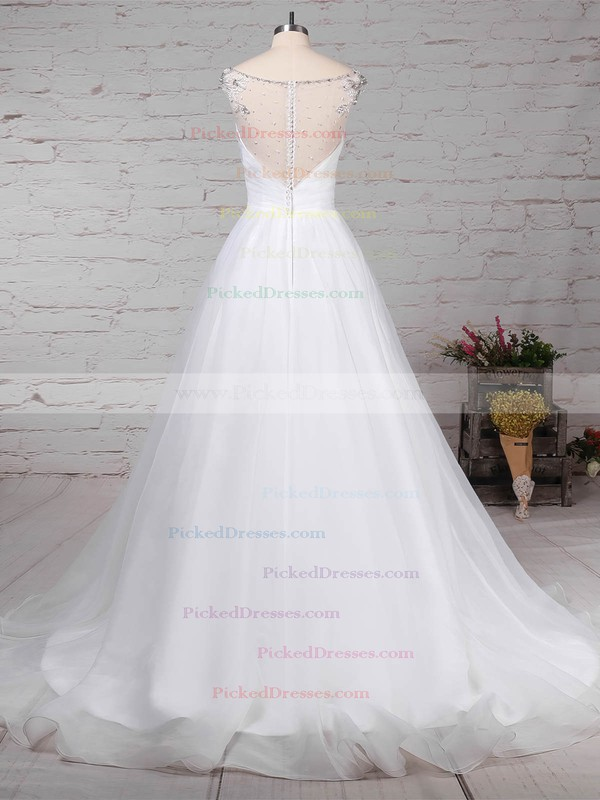 Ball Gown V-neck Sweep Train Organza Tulle Beading Wedding Dresses #PDS00023237
