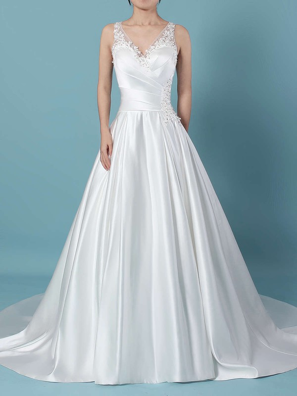 Ball Gown V-neck Sweep Train Satin Tulle Beading Wedding Dresses #PDS00023239