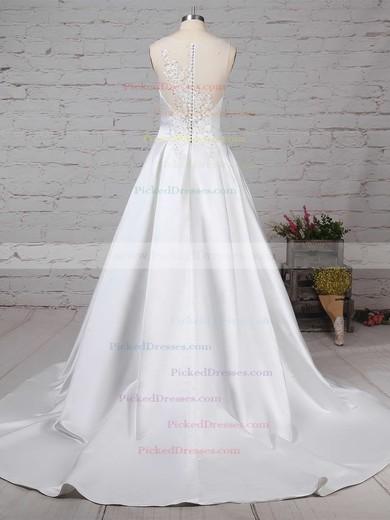 Ball Gown V-neck Sweep Train Satin Tulle Beading Wedding Dresses #PDS00023239
