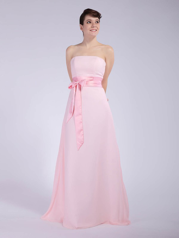 Chiffon A-line Strapless Floor-length Sashes/Ribbons Bridesmaid Dresses #PDS01012040