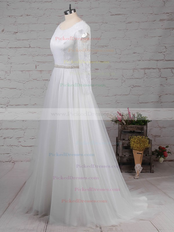 Princess Scoop Neck Sweep Train Lace Tulle Beading Wedding Dresses #PDS00023246