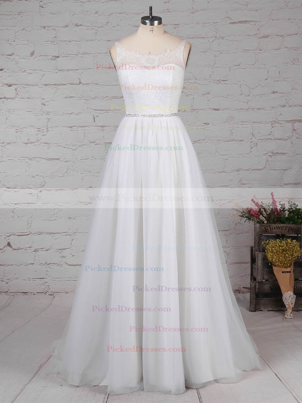 Princess Scoop Neck Sweep Train Lace Tulle Beading Wedding Dresses #PDS00023247