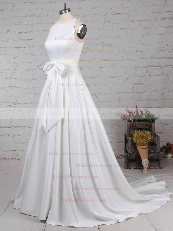 Ball Gown Scoop Neck Sweep Train Satin Bow Wedding Dresses #PDS00023255