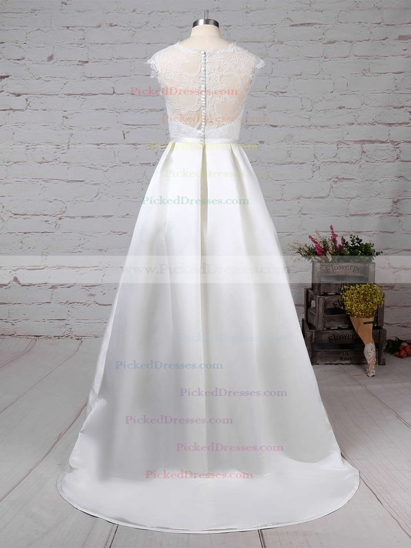 Ball Gown Scoop Neck Sweep Train Lace Satin Pockets Wedding Dresses #PDS00023263