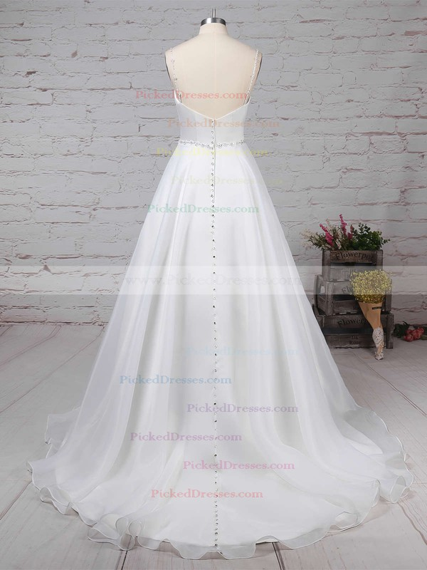 Ball Gown V-neck Sweep Train Organza Beading Wedding Dresses #PDS00023277