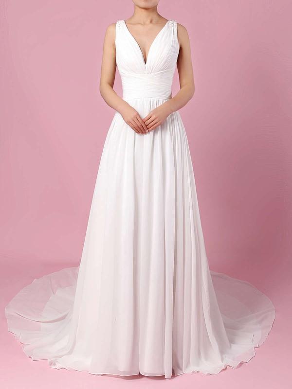 A-line V-neck Sweep Train Chiffon Beading Wedding Dresses #PDS00023289
