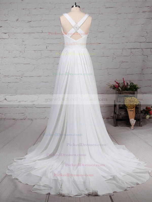 A-line V-neck Sweep Train Chiffon Beading Wedding Dresses #PDS00023289