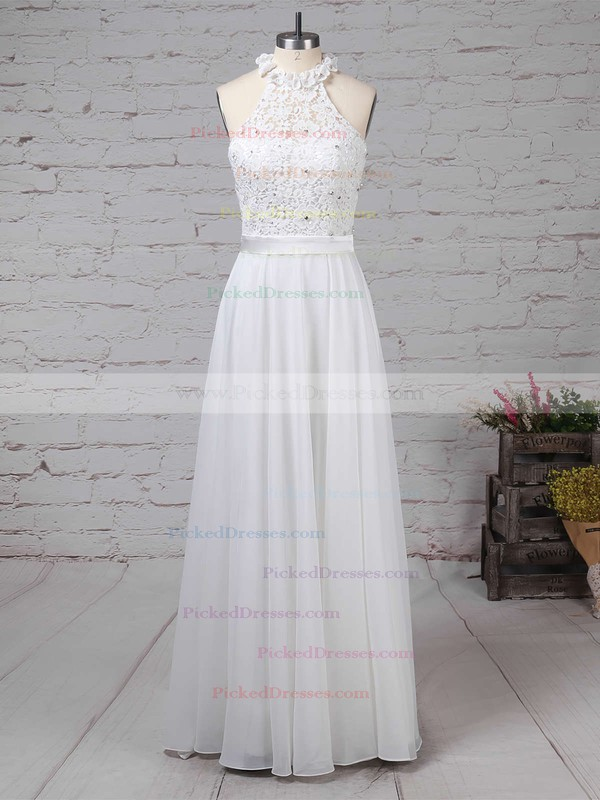 A-line High Neck Floor-length Lace Chiffon Beading Wedding Dresses #PDS00023296