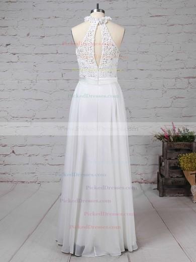 A-line High Neck Floor-length Lace Chiffon Beading Wedding Dresses #PDS00023296