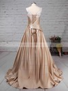 Ball Gown V-neck Sweep Train Satin Appliques Lace Wedding Dresses #PDS00023307