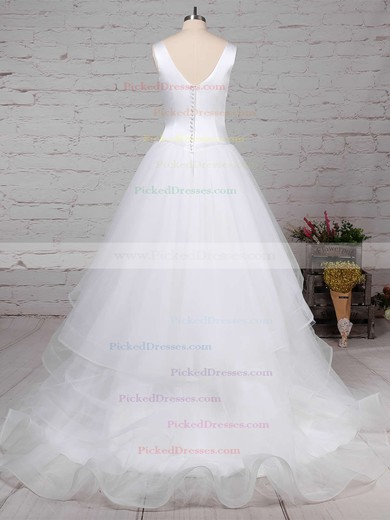 Ball Gown V-neck Sweep Train Satin Tulle Tiered Wedding Dresses #PDS00023312