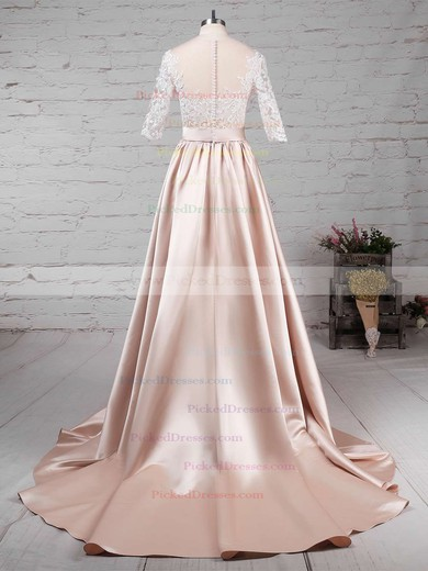 Ball Gown Scoop Neck Sweep Train Satin Tulle Appliques Lace Wedding Dresses #PDS00023314