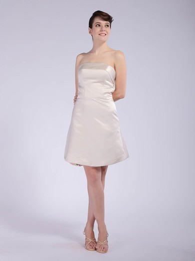 Satin A-line Strapless Short/Mini Draped Bridesmaid Dresses #PDS01012042
