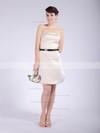 Satin A-line Strapless Short/Mini Draped Bridesmaid Dresses #PDS01012042