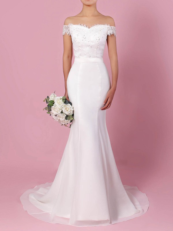 Trumpet/Mermaid Off-the-shoulder Sweep Train Lace Chiffon Sashes / Ribbons Wedding Dresses #PDS00023358