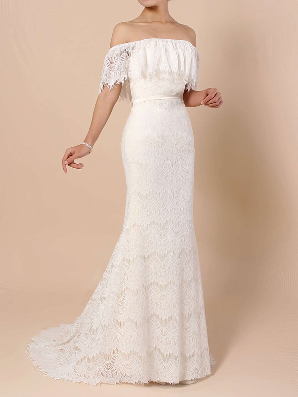 Trumpet/Mermaid Off-the-shoulder Sweep Train Lace Sashes / Ribbons Wedding Dresses #PDS00023361