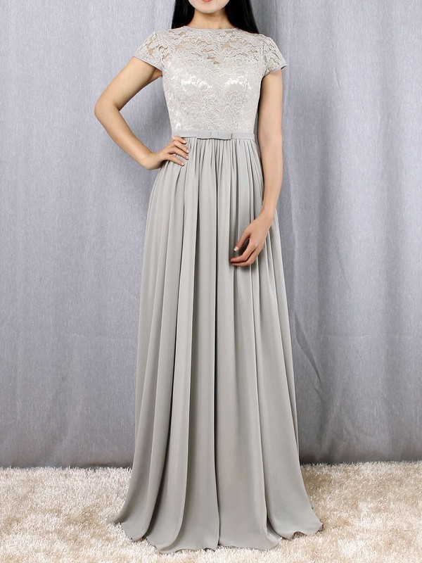 A-line Scoop Neck Lace Chiffon Floor-length Sashes / Ribbons Bridesmaid Dresses #PDS01013469