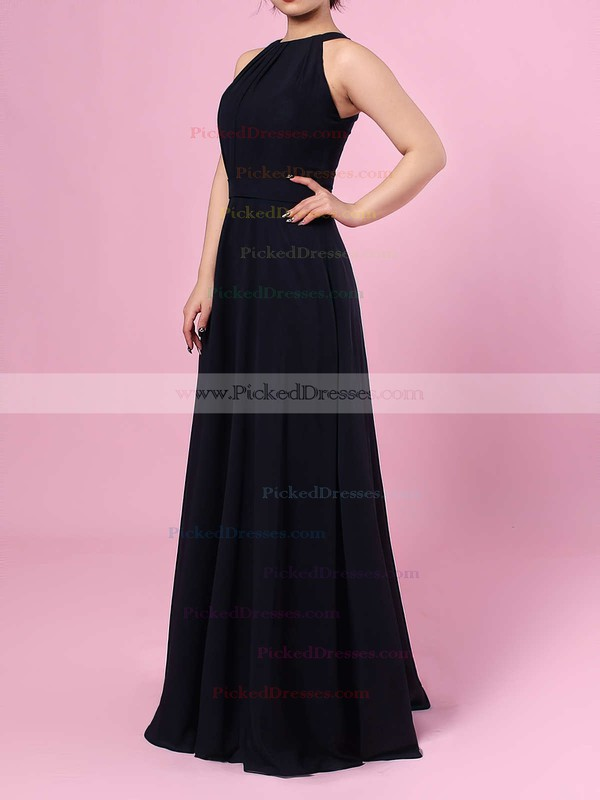A-line Scoop Neck Chiffon Floor-length Sashes / Ribbons Bridesmaid Dresses #PDS01013472