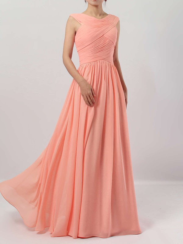 A-line V-neck Chiffon Floor-length Ruffles Bridesmaid Dresses #PDS01013494