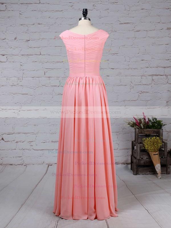 A-line V-neck Chiffon Floor-length Ruffles Bridesmaid Dresses #PDS01013494