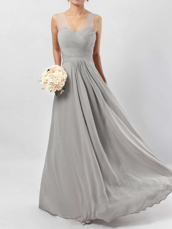 A-line V-neck Chiffon Floor-length Ruffles Bridesmaid Dresses #PDS01013533