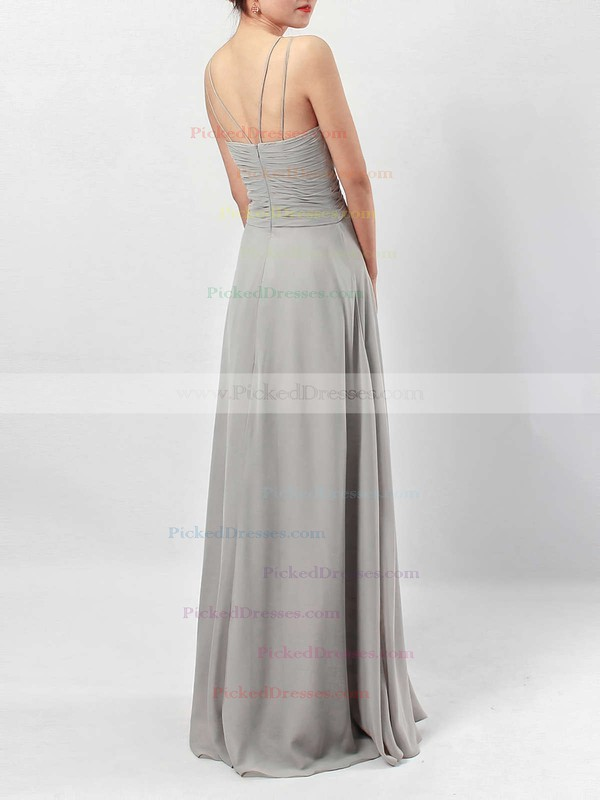 A-line V-neck Chiffon Floor-length Ruffles Bridesmaid Dresses #PDS01013533