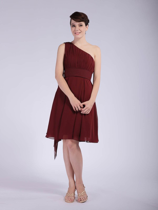Chiffon A-line One Shoulder Knee-length Pleats Bridesmaid Dresses #PDS01012043