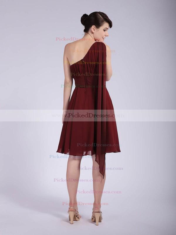 Chiffon A-line One Shoulder Knee-length Pleats Bridesmaid Dresses #PDS01012043