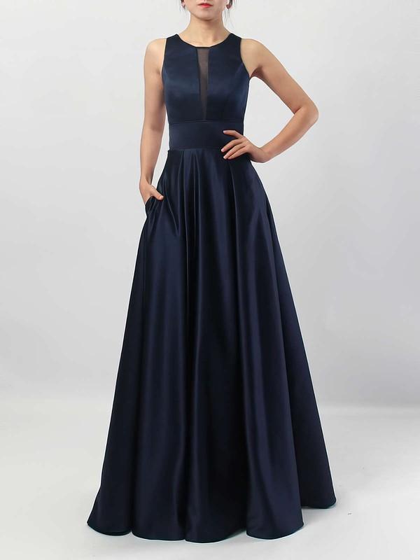 A-line Scoop Neck Satin Floor-length Pockets Bridesmaid Dresses #PDS01013558