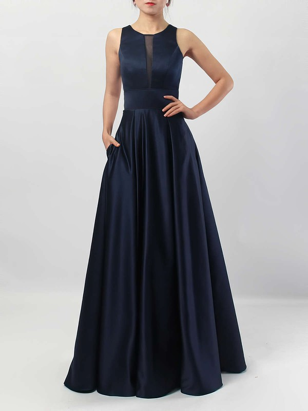 A-line Scoop Neck Satin Floor-length Pockets Bridesmaid Dresses #PDS01013558