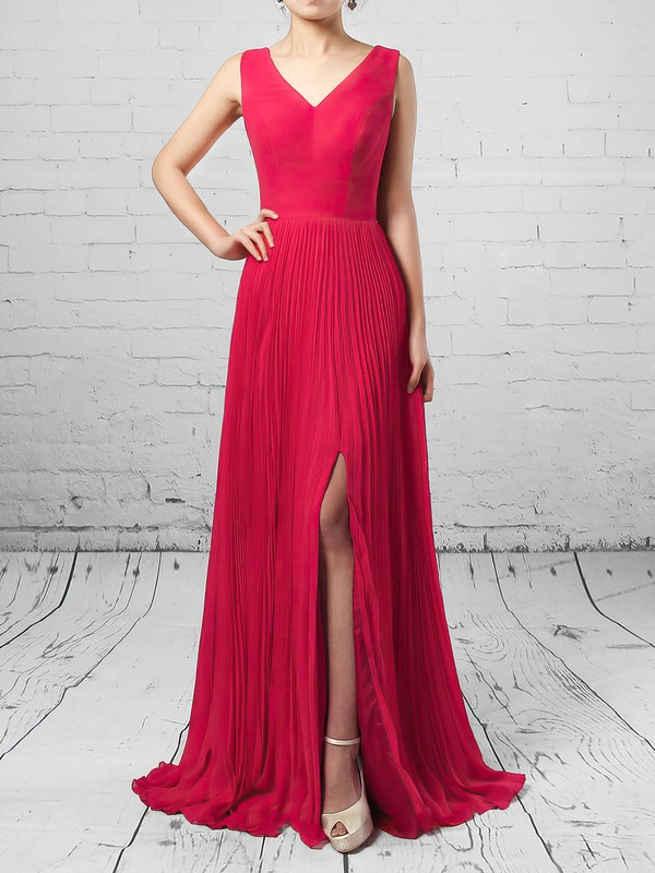 A-line V-neck Chiffon Floor-length Split Front Bridesmaid Dresses #PDS01013579