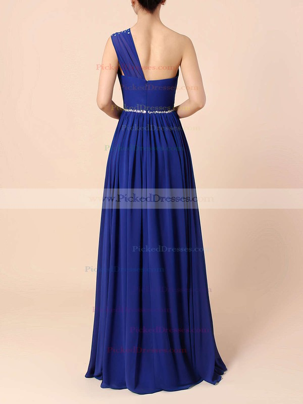 A-line One Shoulder Chiffon Floor-length Beading Bridesmaid Dresses #PDS01013586