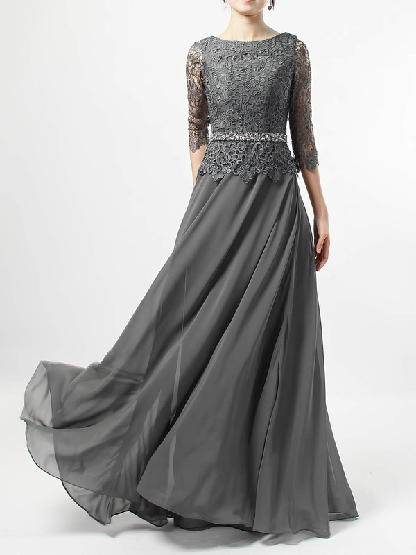 A-line Scoop Neck Lace Chiffon Floor-length Beading Mother of the Bride Dresses #PDS01021711