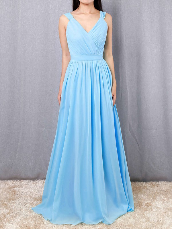A-line V-neck Chiffon Floor-length Sashes / Ribbons Bridesmaid Dresses #PDS01013520