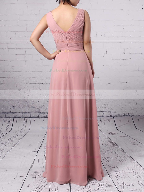 Empire V-neck Chiffon Floor-length Ruffles Bridesmaid Dresses #PDS01013481