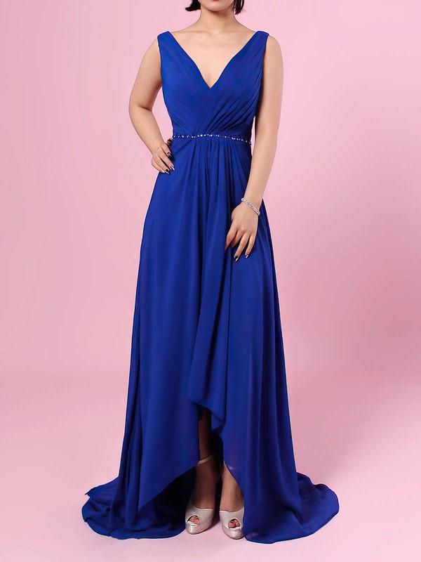 A-line V-neck Chiffon Asymmetrical Beading Bridesmaid Dresses #PDS01013565