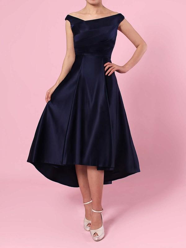 A-line Off-the-shoulder Satin Asymmetrical Ruffles Bridesmaid Dresses #PDS01013570
