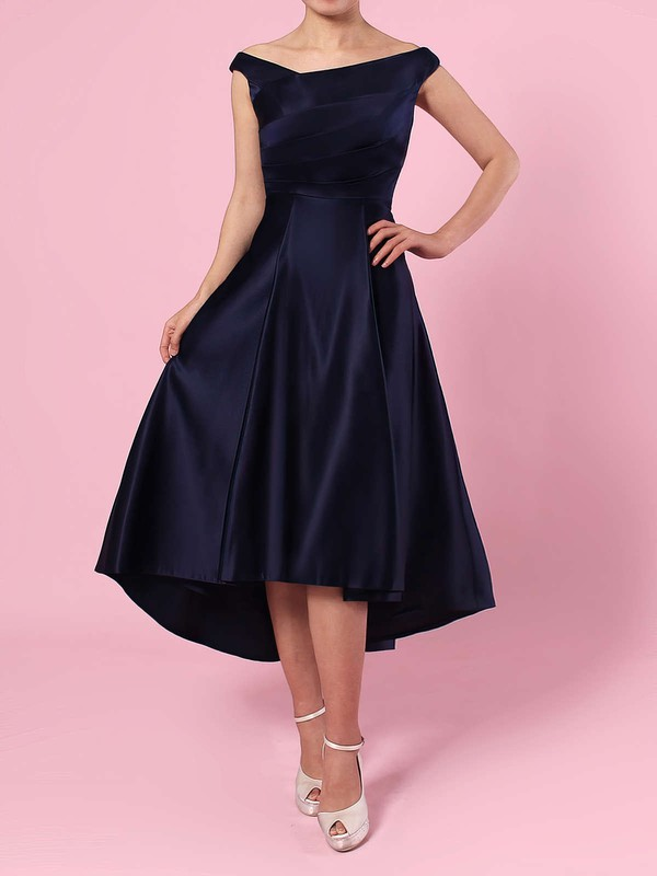 A-line Off-the-shoulder Satin Asymmetrical Ruffles Bridesmaid Dresses #PDS01013570